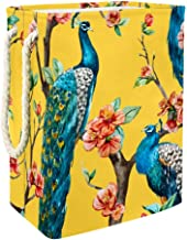Laundry Basket Watercolor Peacock On Cherry Tree Collapsible Laundry Hamper for Bathroom Bedroom Home Toys and Clothing Or...