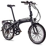 CHRISSON 20 Zoll E-Bike City Klapprad EF1 schwarz - E-Faltrad mit Bafang Nabenmotor 250W, 36V und 30 Nm, Pedelec Faltrad für Damen und Herren, praktisches Elektro Klappfahrrad, perfekt für die Stadt