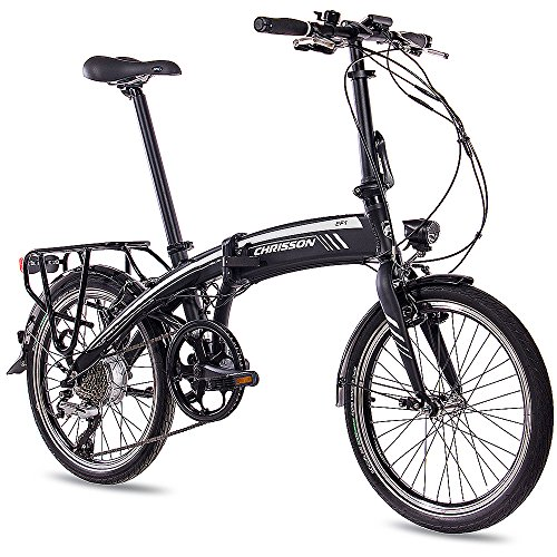 Chrisson EF1 2018 E-Bike vouwfiets, 20 inch, met 8G ACERA & BAFANG 8,7 Ah Samsung-cellen zwart mat