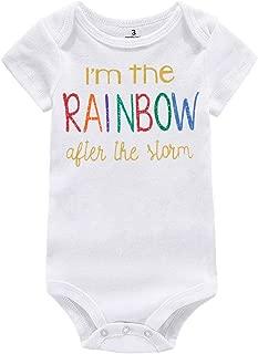 WINZIK Baby Boy Girl One-Piece Bodysuit Outfit I'm The Rainbow Print Newborn Infant Romper Jumpsuit T-Shirt Clothing