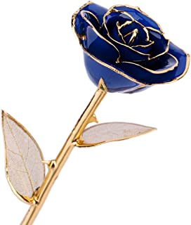 ZJchao 24K Real Blue Rose Gift Idea for Her Dipped in 24k Gold, Forever Preserved Long Stem Rose with Golden Leaf, Christmas, Valentine's Day, Wedding Anniversary, Birthday, Graduation Gift (Blue)