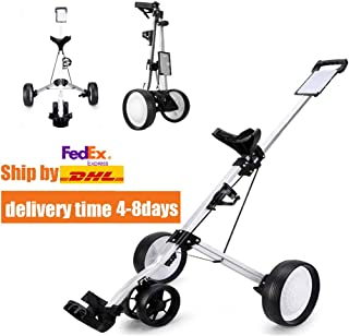 DailyValley Golf Pull Cart, 4-Wheel Foldable Push Cart with Score Board