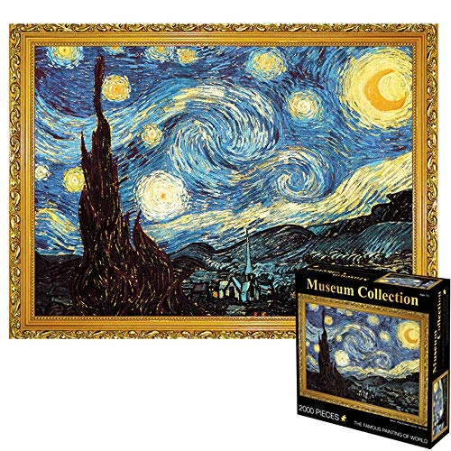Puzzle World Famous Pittura Notte Stellata 1000/2000/3000 Pieces - Grande for Adulti Bambini - Unico Cut Interlocking Pezzi (Size : 2000pcs)