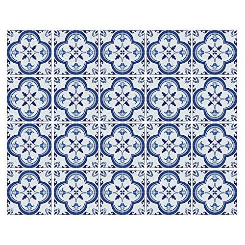 decalmile 20 Piezas Pegatinas de Azulejos 15x15cm Azul y Blanco Marroquí Adhesivo Decorativo para Azulejos Cocina Baño Decoración