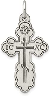 Black Bow Jewelry Sterling Silver Antiqued Eastern Orthodox Cross Pendant, 17 x 29mm