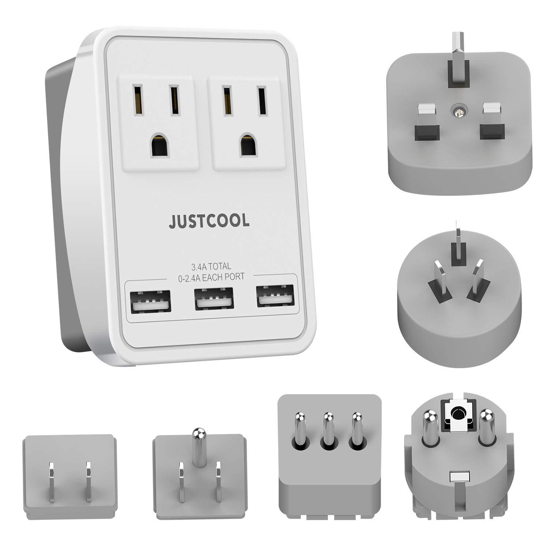Justcool - Adaptador de enchufe universal para viajes con 3 puertos USB + 2 tomas de corriente