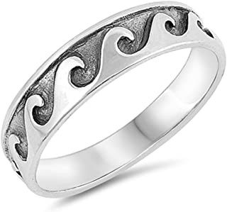 Oxidized Sterling Silver Engraved Ocean Waves Band Ring