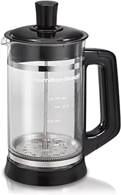 Hamilton Beach French Press with Frothing Attachment for Coffee, Hot Chocolate or Tea, 1 Liter, Glass (40400R)