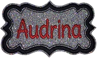 Name Patch - Custom Embroided Name Tag Iron On Patch With Your Name - Elegant Sparkling Glitter - Choose Your Glitter And Thread Colors!