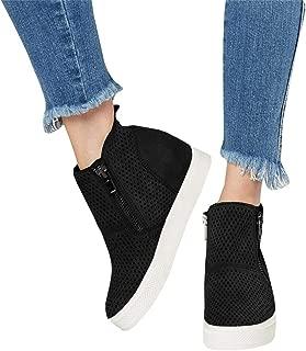 Womens Platform Wedge Sneakers Perforated High Top Side Zipper Ankle Booties