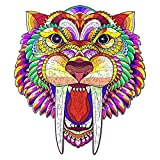 SUIMUSEN Wooden Puzzles for Adults, Animal Shaped Puzzles Saber-Toothed Tiger, 11.4 x 10.1 inches, 196 Pieces, Medium –Best Gift for Adults and Kids, Wooden Jigsaw Puzzles for Adults, Wood Cut Puzzles