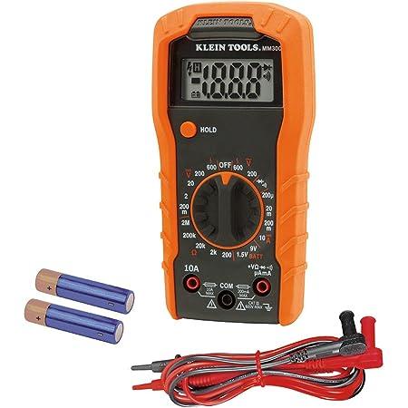 Klein Tools MM300 Mulimeter, Digital Manual-Ranging Voltmeter, Tests Batteries, Diodes, and Continuity, 600V