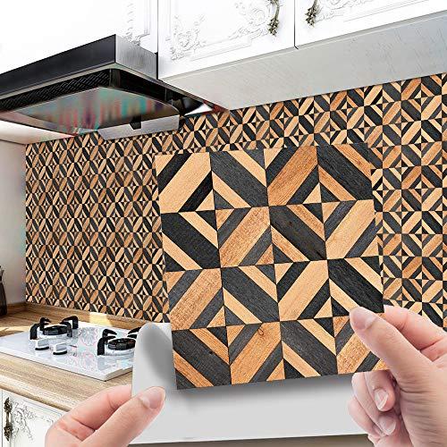 Hiser 20 Piezas Adhesivos Decorativos para Azulejos Pegatinas para Baldosas del Baño/Cocina Impresión de Mosaico de Grano de Madera Resistente al Agua Pegatina de Pared (Gris,10x10cm)