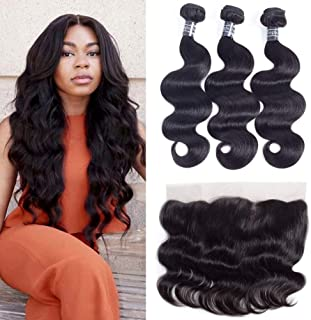 Amella Hair 8A Brazilian Body Wave With Frontal (12 14 16+12 Frontal)100% Unprocessed Brazilian Body Wave Frontal and Bundles Natural Black Color
