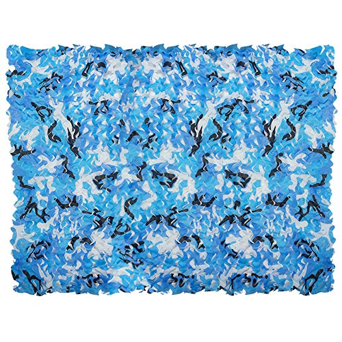 iunio Camouflage Netting Camo Net Blinds for Sunshade Camping Shooting Hunting Decoration (Aqua Blue, 6.5ftx5ft 2mx1.5m)