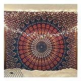 Tapiz para Colgar en la Pared, diseño de Mandala Hippie,Color Azul y Indio, Estilo Bohemio Colcha de tamaño Queen, para la Playa, Esterilla de Yoga o meditación, 140 x 210 cm