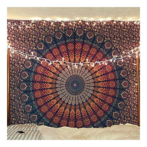 raajsee Tentures Murales Indiennes Bleu Mandala/Bleu et Orange Tapisserie Mandala Hippie/Bohemian Rideaux Orientale Decorations Tapestry/Twin 140x210cms