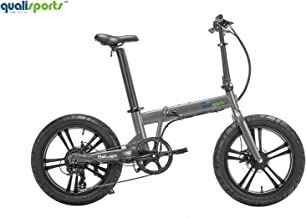"Qualisports Beluga Electric Bicycle Fat Tire Folding Ebike 48V/10.5Ah Battery, 500W Hub Motor, Max Speed 20MPH, Range 25+Miles, 20""Integrated Wheel, 7 Speed Gear Derailleur Electric Mountain Bike"
