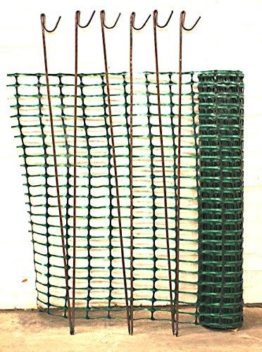 Warnzaun, Bauzaun, Absperrzaun Medium 140g/m², 1 x 25m, grün + 10 rostfreie Stahlstangen Ø8mm, 1.30m, zur Absicherung und Kennzeichnung von Baustellen, Gefahrenzonen, Loipen u.a.