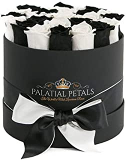 PALATIAL PETALS 24k Gold Roses That Last A Year | 365 Day Year-Long Lasting Roses | Preserved Forever Rose Arrangement Flower Box Bouquet | Birthday Gifts for Her Women Girlfriend Mom (Black/White)