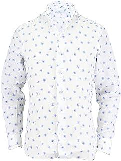 [Mario Muscariello マリオムスカリエッロ]メンズ 花柄刺繍 リネン カッタウェイシャツ M3 SHIRTS WASHED L4E2158 C4W(ホワイト)