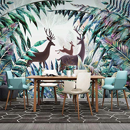 XIAOHUKK 3D self-Adhesive Wallpaper Forest elk Wallpaper Plant Green Leaf Decorative Art Wall Painting Smooth Surface Decoration refurbished Room