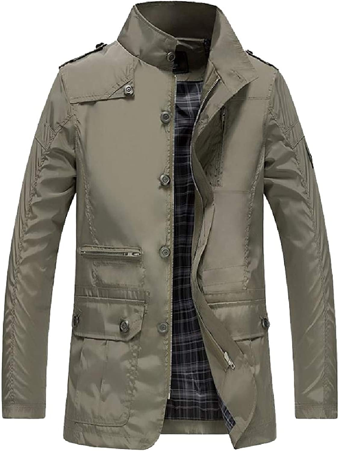 Tootca Mens Plus Size Open Work Stand Collar Trench Coat Jacket