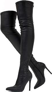 Women's Vegan High Heel Side Zipper Thigh High Over The Knee Boots