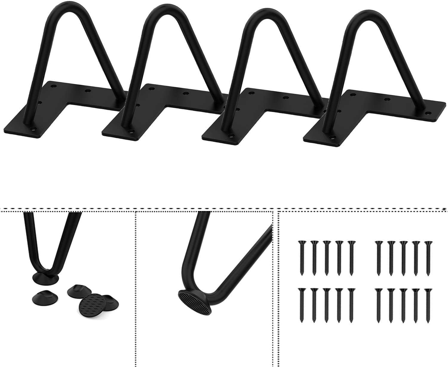 Agoland 4 Inch Black Hairpin Legs Special price Metal Heavy-Duty gift 4pcs Furni