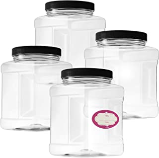 Pack of 4-32 Oz Large Clear Empty Plastic Storage Jars with Lids - Square Food Grade Container with Easy Grip Handles - Multi Purpose Jar BPA Free