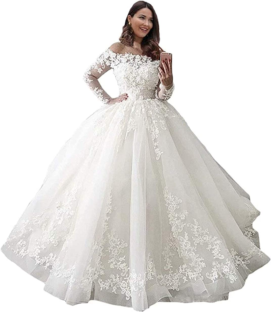 Melisa Off The Shoulder Long Sleeves Lace Applique Wedding Dresses for Bride with Train Bridal Ball Gowns Plus Size