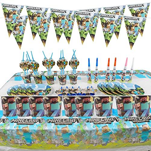 64pcs Fournitures de Fête de Jeu Vidéo, Vaisselle À Thème Fêtes Fournitures de Fête Plein Air, Kit Vaisselle Fête Compris Bannière, Gobelets Papier, Assiettes Papier, Nappe