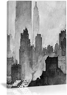 Black and White Abstract City Buildings Wall Art Decor Canvas Painting Kitchen Prints Pictures for Home Living Dining Room