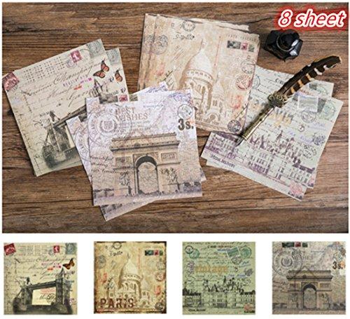 Tic-Tac 8 Feuilles Papier Vintage Autocollant Papier Designer Décoration Scrapbook (Voyage)