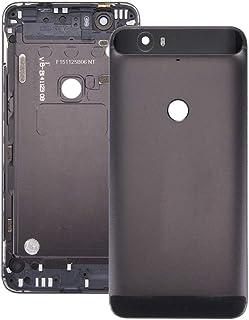 交換用スペアパーツ修理部品 Google Nexus 6Pバッテリーバックカバー(上部+下部下部ガラスレンズカバー付き)(グラファイト)用 (Color : Silver)