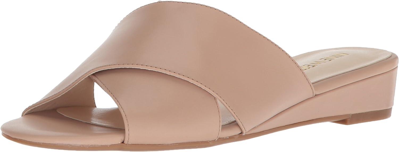 Nine West Womens Tumbarelo Leather Wedge Sandal