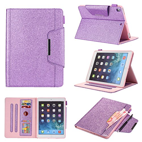 iPad 7th Generation Case, iPad 10.2 2019 Case with Pencil Holder,Bling Glitter Sparkly Folio Folding Stand Cover with Holder Auto Wake/Sleep Luxury Smart Case for iPad 10.2 inch 2019 (Glitter Purple)