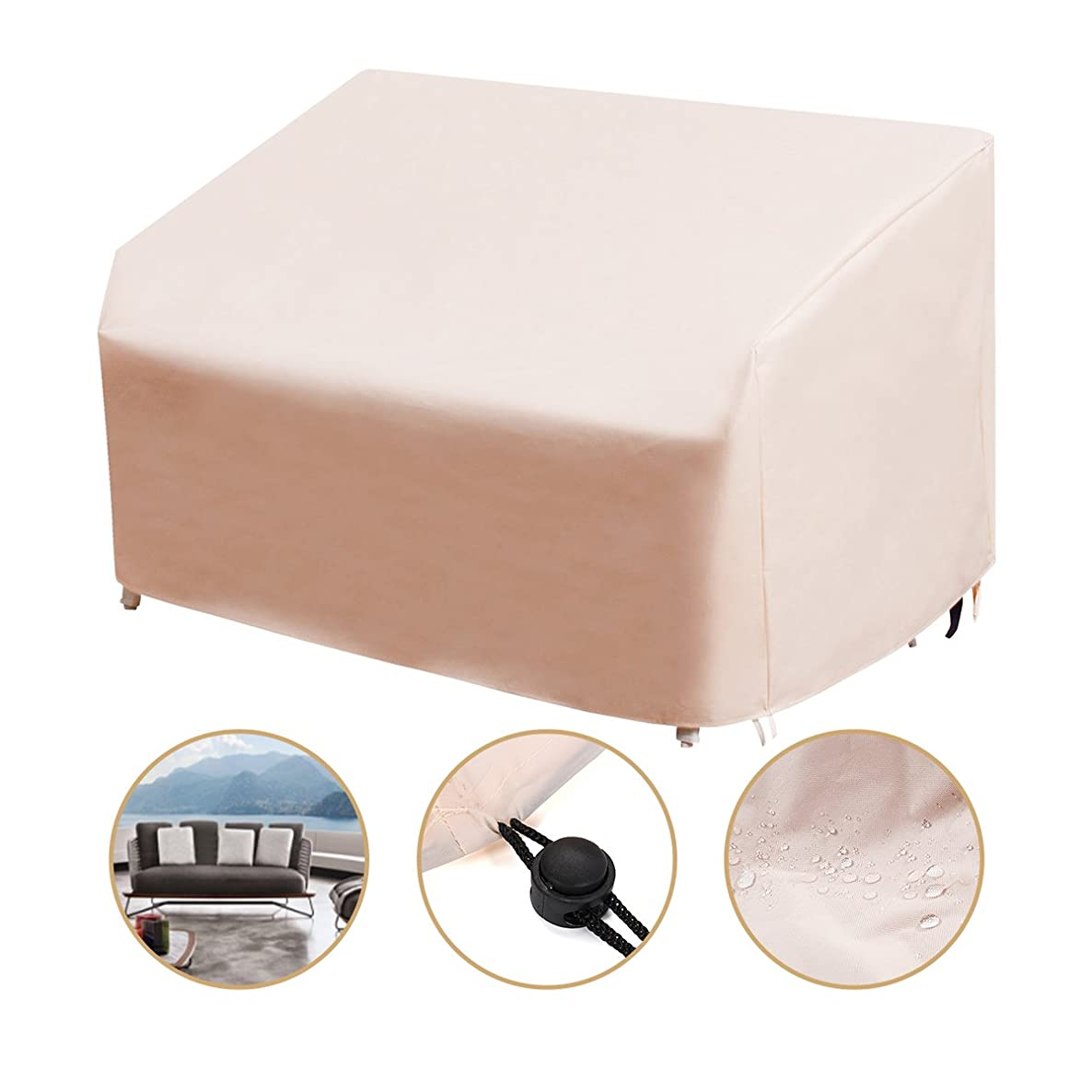 Essort Patio Three-Seats Sofa Cover, Waterproof Outdoor Furniture Protection, 85x43x40 inches, Beige