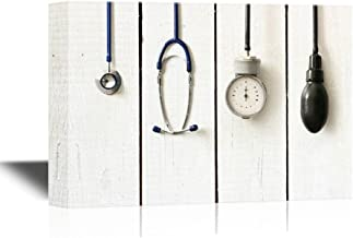 wall26 - Canvas Wall Art - Medical Apparatus and Instruments on Wood Style Background - Gallery Wrap Modern Home Decor | Ready to Hang - 24x36 inches