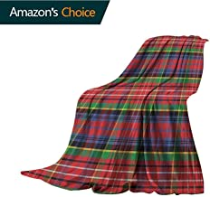 Plaid Camping Blanket,Caledonia Scottish Traditional Pattern Tartan Motif Abstract Squares Ornate Quilt Comfortable Soft Material |give You Great Sleep,30