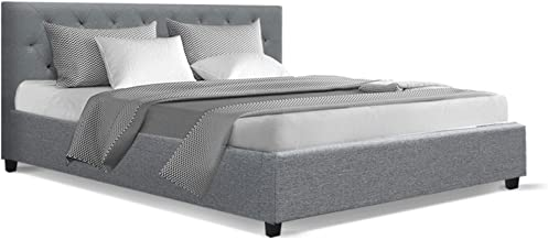 King Bed Frame, Artiss Van Fabric Upholstered Timber Bed Frame Base, Grey