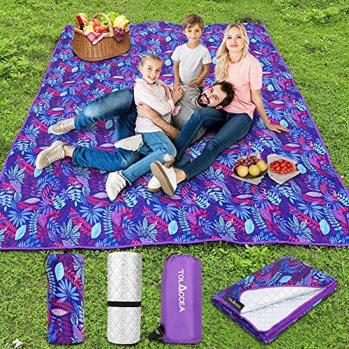 Coperta da picnic impermeabile 145 x 200 cm, coperta da campeggio, spiaggia, impermeabile, in pile senza sabbia con borsa per il trasporto, ideale per sfondi grandi, tascabile, coperta da campeggio
