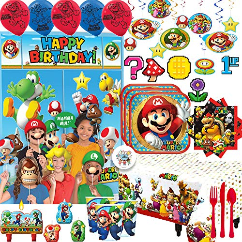 Great Deal! Mega Super Mario Birthday Party Supplies and Decoration Pack For 16 With Mario Plates, N...