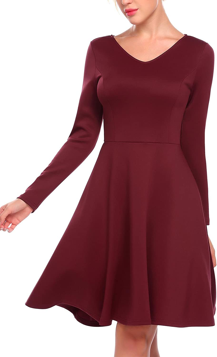 ANGVNS Women's VNeck Long Sleeve Pleated Solid color A Line Casual Flared Dress