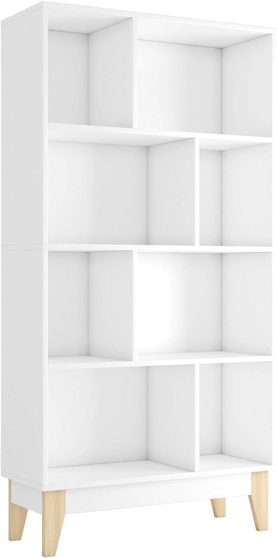 Estantería Librería con 8 Cubos para Libros Mueble Estantería Madera para Salón Oficina Blanco 147.5x75x29.5cm