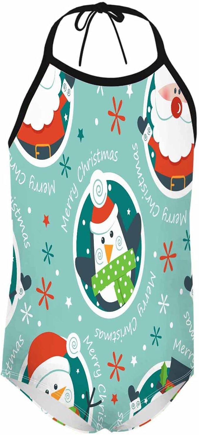 WONDERTIFY Christmas Girl's Swimsuit Penguin Santa Clause Snowman Little Girls One Piece Swimwear Bathing Suit Beach Sport Red White 7-8 Years S