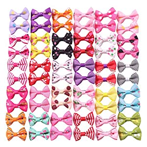 YAKA 60PCS (30 Paris) Cute Puppy Dog Small Bowknot Hair Bows with Clips,Handmade Hair Accessories Bow Pet Grooming Products (60 Pcs,Cute Patterns) (Clips Style 3)