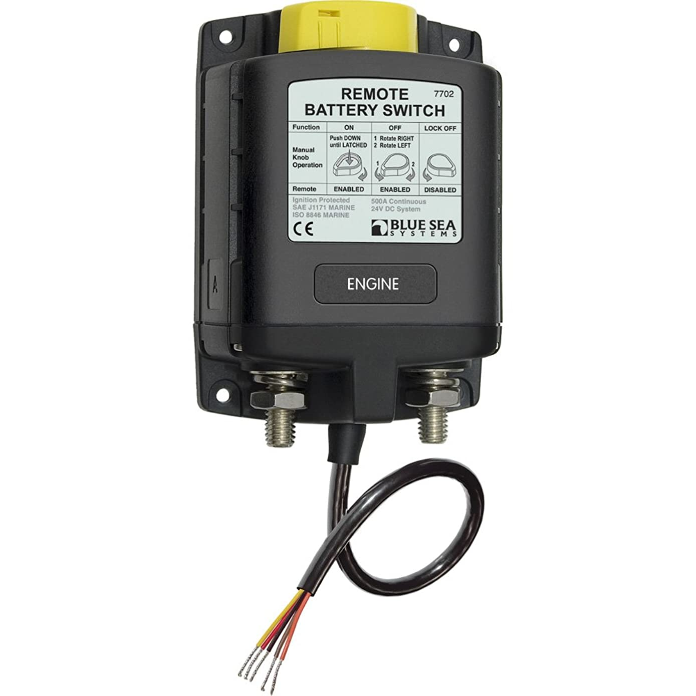 Blue Sea Systems 7702 Blue Sea 7702 ML-Series Remote Battery Switch with Manual Control 24V DC