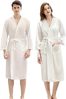 Jixin4you Mens Kimono Waffle Shawl Collar Bathrobe, Womens Dressing Gown Bath Robe, Unisex Soft Sleepwear