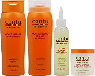 "Cantu Moisturizing Shampoo + Rinse + Tea Tree Oil + Grow Strong Treatment""Set"""